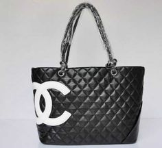 Chanel Cambon Bags Lambskin Black White Classic Handbags Outlet694