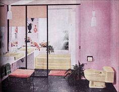 1957 bathroom interior decorating before and after design decorating bathroom design Bathroom Design Inspiration, Modern Bathroom Design, Bathroom Interior Design, Bathroom Designs, Bathroom Ideas, Design Ideas, Mid Century Modern Bathroom, Mid Century Modern Design, Vintage Bathrooms