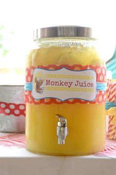 Monkey Juice to go along with your party! Recipe: 1 cup Countrytime Lemonade mix 2 cups cold water 1 can of chilled pineapple juice oz} 2 cans chilled Sprite Sock Monkey Party, Sock Monkey Birthday, Monkey Birthday Parties, Baby Birthday, Birthday Ideas, Monkey Baby, Curious George Party, Curious George Birthday, Baby Shower Themes