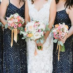 loving navy for bridesmaid dresses and these have gorgeous beading details