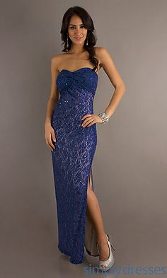 Strapless Floor Length Lace Dress at SimplyDresses.com