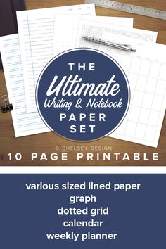 Just in time for school! Whether you are homeschooling or sending kids to school, you will need paper! Get ALL the necessary papers for you and your kids in one easy printable. Writing Notebook, Lined Notebook, Notebook Paper, Dotted Page, Calendar Pages, Letter Size Paper, Lined Page, Graph Paper, Writing Paper