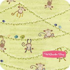 Little Monkey Green Hanging Around Yardage SKU# 10210102-1