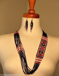 Southwestern Red Cross and Red/Black Seed Bead Necklace Earring Set NWT