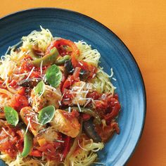 My mom made Chicken Cacciatore all the time growing up... Here's a recipe for making it in a crock pot over spaghetti squash. Going to try this tomorrow!