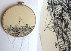 This simple sail boat sits upon a bold linear sea of pattern. A tactile Illustration encased within an embroidery hoop (dimensions 16cm across)