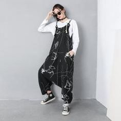 Womens Summer Loose Fitting Printed Floral Overalls With Pockets, Casual Overalls, Loose Pants For Women, Summer Pants, Overalls For Women Trousers Women, Pants For Women, Clothes For Women, Loose Pants, Black Plaid, Jumpsuits For Women, Overalls, Casual, Pockets