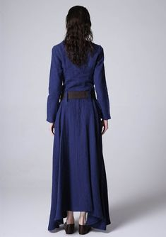 **Details** * Blue linen maxi dress * Long sleeve, round collar * Two pockets on each side * Buttons on the front side * The belt is not sale items * SIZE GUIDE http://etsy.me/2AC9UzJ More color and photo http://www.etsy.com/shop/xiaolizi/search?search_query=784 NOTE Please leave us your