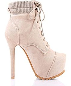 """Women Lace up Ankle High 6"""" Stilettos Platform High Heels Boots Sexy Party Combat Military Shoes"""