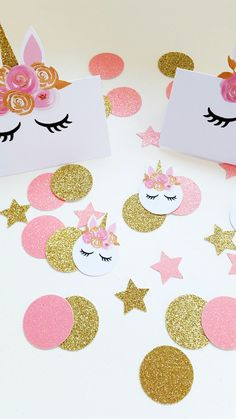 Pink and Gold Bouquet Unicorn Glitter Confetti. Perfect to accompany a Unicorn or Fairy Garden Themed Party. Add a touch of whimsy and sparkle to your; Birthday Parties, Unicorn Parties, Fairy Parties, Tea Parties, Tabletop Decor, (Gift Tables, Dessert Tables), Invitation Fillers,