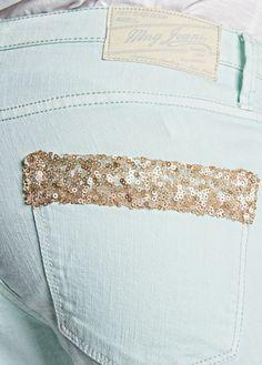 MANGO - Sequin slim-fit jeans