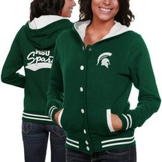 Michigan State Spartans Ladies Green Varsity Blues Full Button Hoodie Sweatshirt