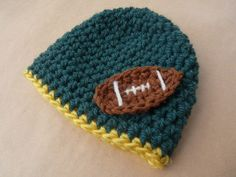 Football Beanie Green and Gold Hat Boy by LittleMommaBoutique, $20.00