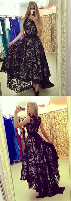 black prom dresses,lace prom dresses,high low prom dresses,sleevels prom dresses,cheap prom dresses @simpledress2480