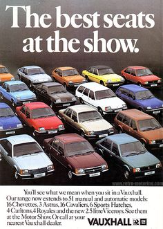Vauxhall at the 1980 British Motor Show - Classic car list General Motors, Vauxhall Motors, Old Classic Cars, Classic Mini, Classic Rock, Ad Car, Classic Mercedes, Automobile, Car Posters