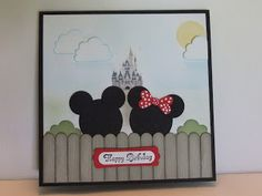 Hello Stampers and fellow Paper Crafters! One more Disney card to share. This request was for Mickey and Minnie in a landscape with cloud. Disney Birthday Card, Kids Birthday Cards, Mickey Birthday, Disney Scrapbook Pages, Scrapbook Cards, Mickey Mouse, Mickey Head, Disney Mickey, Magic Kingdom