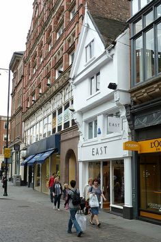 Nottingham's oldest shop. Somehow East has survived in an early 16th century jettied building, alongside its Victorian neighbours. It is interesting that the pubs all make erroneous claims to their antiquity while East just modestly occupies these ancient premises. Until the mid nineteenth century there were many jettied timber framed houses along Bridlesmith Gate: this, at number 11, is now the only survivor.