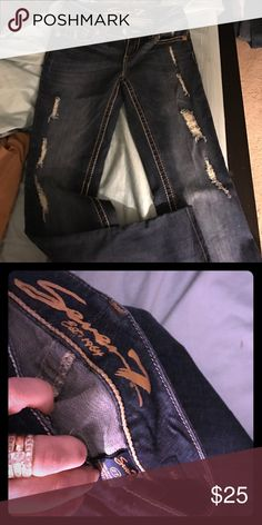 Size 27 Seven 7 distressed jeans! Size 27 Seven 7 distressed jeans! Bootcut!! Seven7 Jeans Boot Cut