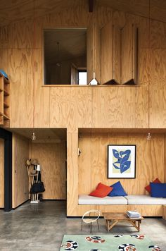 howbezar is this plywood house by New Zealand architect Davor Popadich via thebezar-plywood, interior, design Plywood House, Plywood Walls, Plywood Sheets, Hardwood Plywood, Plywood Furniture, Green Plywood, Kid Furniture, Architectural Digest, Modern Interior Design