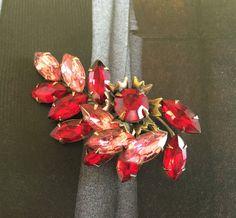 Ruby Red Pink Rhinestone Brooch Dimensional by WeeLambieVintage