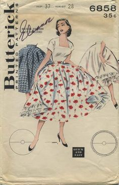Vintage Circle Skirt Sewing Pattern | Butterick 6858 | Year 1960 | Bust n/a | Waist 28 | Hip 37