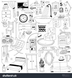 stock-vector-hand-drawn-doodles-interior-design-set-295993130.jpg 1,475×1,600 pixels