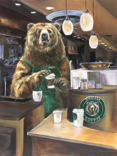 Bearista This friendly bear has your latte ready. This limited edition giclee by Marilynn Mason brings an enchanting whimsy to any home. Black Bear, Brown Bear, Ours Grizzly, Urso Bear, Bear Illustration, Bear Pictures, We Bare Bears, Love Bear, Bear Art