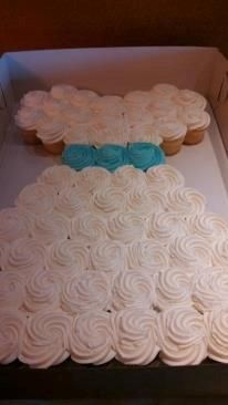 cute wedding shower cake made of cupcakes