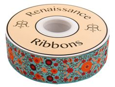 Buy Ribbon: Orange on Turquoise Suzani – Renaissance Ribbons