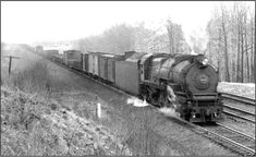 PRR hauling mixed freight on the Trenton Cutoff before the line was electrified 1939 Railroad Companies, Pennsylvania Railroad, Train Engines, Steam Engine, Steam Locomotive, Train Tracks, Roads, 1930s, Journey