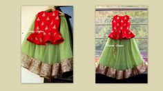 Mint green net skirt with a red peplum top for your lil one This can be customized to your color and size requirements For details mail us :. Baby Lehenga, Kids Lehenga Choli, Saree, Kids Indian Wear, Kids Ethnic Wear, Baby Dress Design, Frock Design, Little Girl Dresses, Girls Dresses