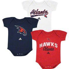 Atlanta Hawks Newborn Baby adidas 3-Pack Creeper Set