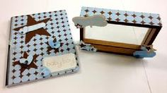LOVE! this matching baby boy journal and frame.  Brown and blue are so good together.
