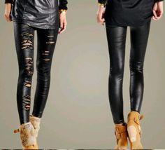 Barato W110sexy mulheres quebrado buraco Stretch Lace Legging calças frete grátis, Compro Qualidade Leggings de Denim diretamente de fornecedores da China:              Descrição:                       Material: imitação de couro + rendas          Design é muito m
