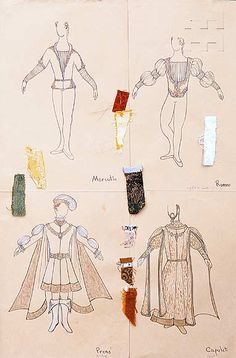 """Romeo and Juliet"" Costume scetch and fabric samples. (Bottom right)"