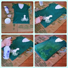 Sew T-Shirt DIY Bleached Design Shirt - going to try this with the shirts my kids (or I) stain. Must be a good way to hide the stain and save the t-shirt. Gebleichte Shirts, Bleach T Shirts, Tie Dye Shirts, Tees, Camp Shirts, Bleach Pen Shirt, Bleach Art, Tie Dye Crafts, Diy Kleidung