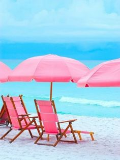 Pink Beach chairs and pink umbrella Pink Umbrella, Beach Umbrella, Beach Please, Pink Beach, Beach Bum, Pink Ocean, Pink Sand, Playa Beach, Bon Voyage