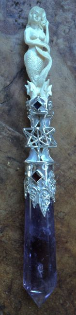 Magickal Ritual Sacred Tools:  Mermaid Crystal Wand.