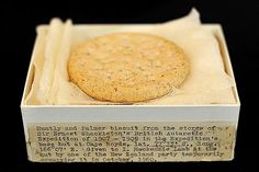 A Huntley and Palmers biscuit from Ernest Shackleton's unsuccessful expedition to the South Pole at Christie's auction house in London.