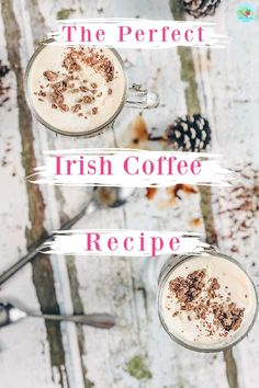 The perfect Irish coffee Recipe for dinner parties with whisky and the perfect whipped cream, served in Irish coffee glasses for   winter cocktails and after dinner drinks #irishcoffeerecipe #boozycoffee #wintercocktails Frozen Cocktails, Winter Cocktails, Easy Cocktails, After Dinner Drinks, Dinner Parties, J&b Whisky, Toffee Vodka, Irish Coffee Ingredients, Cocktails To Make At Home