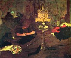 Young woman near lamp via Pierre Bonnard