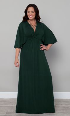 Don't go to great lengths not to get pinched this St. Patrick's Day, just wear our plus size Charlize Maxi Dress in green.  Cute twist detail and dramatic sleeves make this a knockout addition to your wardrobe. #KiyonnaPlusYou #Plussize #Kiyonna