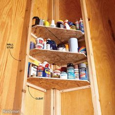 Garage Corner Shelves - Who couldn't use a few more shelves in the garage? You probably already have shelves in the obvious spots, but what about in the corners? This nifty corner shelf unit takes advantage of existing studs, and it's fast, easy and cheap. Use scrap plywood or oriented strand board to make shelves that fit snugly between the corner studs and support them with 1x1 cleats. These corner shelves are perfect for storing smaller items such as glues, oils, waxes and polishes…