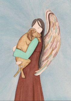 Vizsla cradled by angel  / Lynch signed folk by watercolorqueen, $12.99