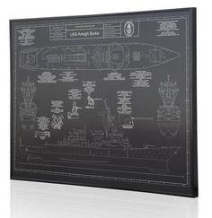 Arleigh Burke-class destroyer Engraved Blueprint Diagram Wall art on Anodized Aluminum