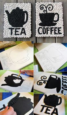 kaffeebohnen-bastelideen-for-creative-wall-design-of-beans mit bildern- - DIY Deko Diy Home Crafts, Diy Arts And Crafts, Diy Crafts To Sell, Easy Crafts, Sell Diy, Decor Crafts, Coffee Bean Art, Coffee Beans, Creative Christmas Trees