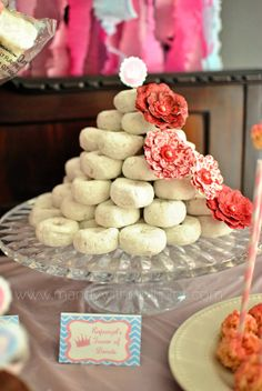 "Princess Party Food - ""Rapunzel's Tower of Donuts"""