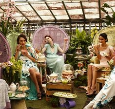 Afternoon tea in the greenhouse (from Food, Fashion, Friends by Fleur Wood)