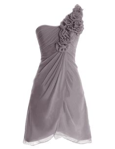 Diyouth One Shoulder Flower Short Bridesmaid Dresses Cocktail Party Gowns Grey Size 8