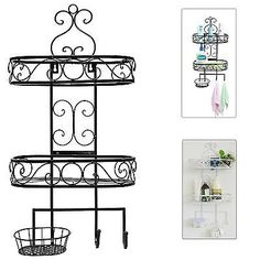 3 TIER Wrought Iron Bathroom Soap Rack Hanging Towel Shelf Hook Holder Bronze
